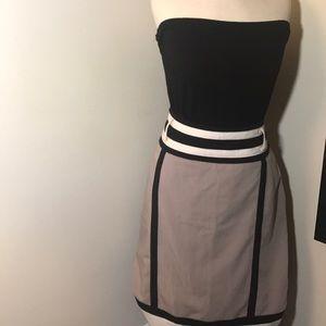 Black and Light Grey Color Block Skirt